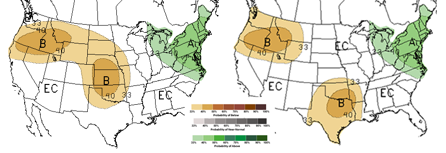 Figures 1 and 2. Comparison of the February (left) and March 15 precipitation outlooks for June-August 2018. A indicates above normal chances, N indicates normal changes, B indicates below normal chances and EC indicates equal chances for precipitation percentages provided in the key. (Source: NOAA Climate Prediction Center)