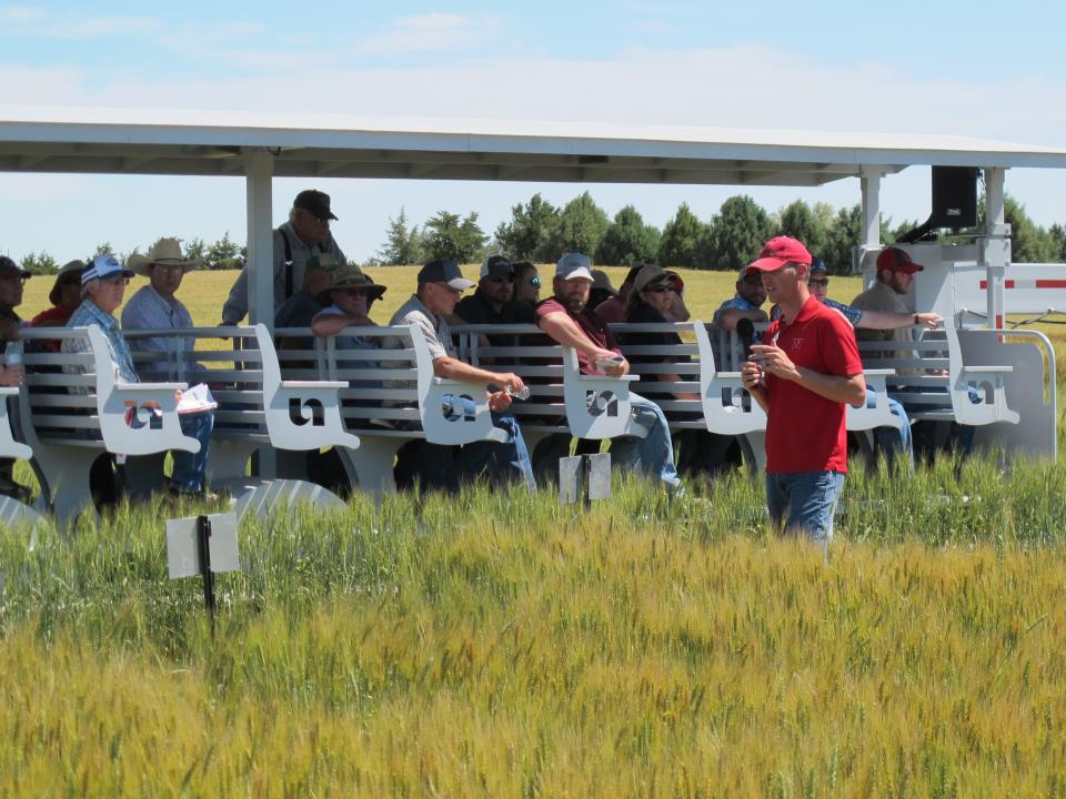 The High Plains Ag Lab near Sidney will be hosting field tours, like the one shown here in 2017, of dryland wheat, field pea, and forage research plots on June 21.