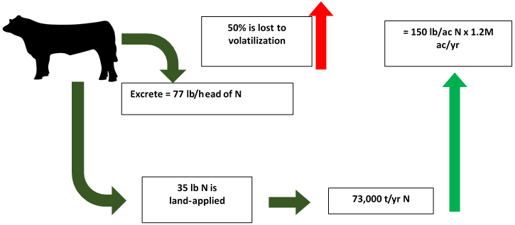 Figure 1. Land-applied manure from finishing 5 million beef cattle per year in Nebraska contains the equivalent of 150 lb/ac/yr N applied to 1.2 million acres.