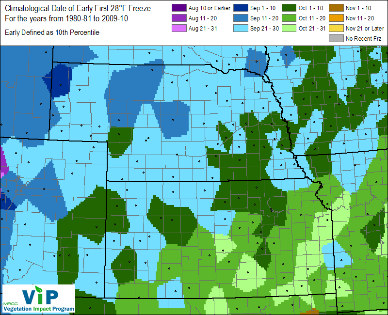 Map of the Midwest showing average date ranges for first 28°F freeze. (Source: Midwest Regional Climate Center)