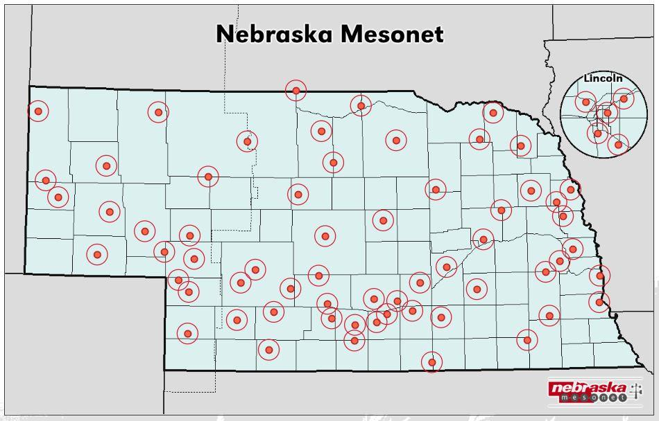 Sites reporting weather data to Nebraska Mesonet