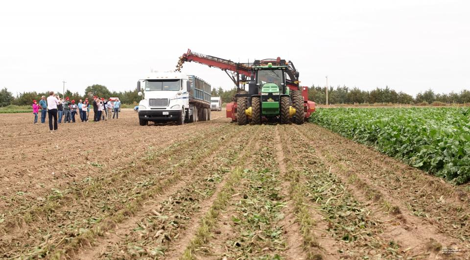 Figure 1. Representatives of the USDA Foreign Agricultural Service view sugarbeet harvest in the Nebraska Panhandle near Morrill. (Photo by Gary Stone)
