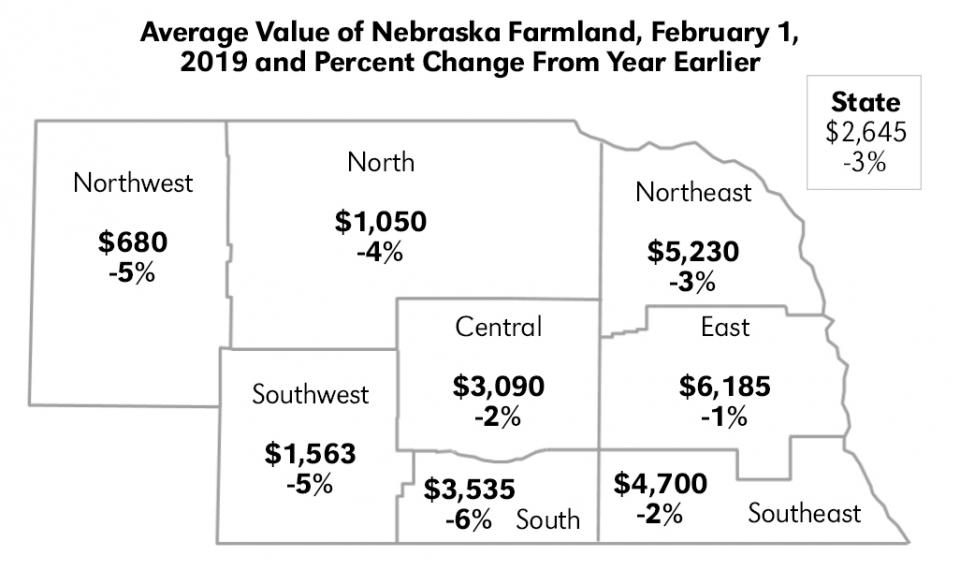 Map of Nebraska land values