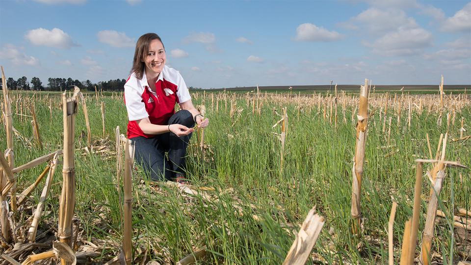 Andrea Basche in a field of cover crop planted into corn stubble