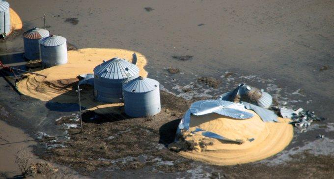 Grain bins that burst with wet grain during 2019 flooding