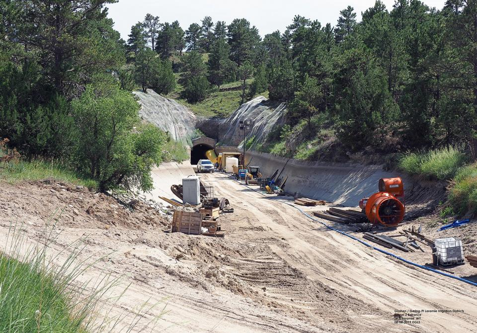 Efforts are ongoing to repair the tunnel section of the Goshen/Gering-Fort Laramie Irrigation canal that collapsed July 17. This photo was taken August 8.