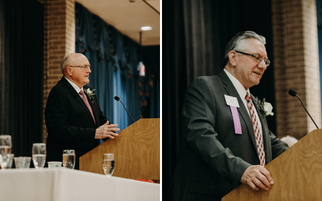 Honorees Bob Dickey (left) and Al Svajgr offer remarks at the Nebraska Hall of Agricultural Achievement banquet March 29 in the Nebraska East Union. (University Communication)
