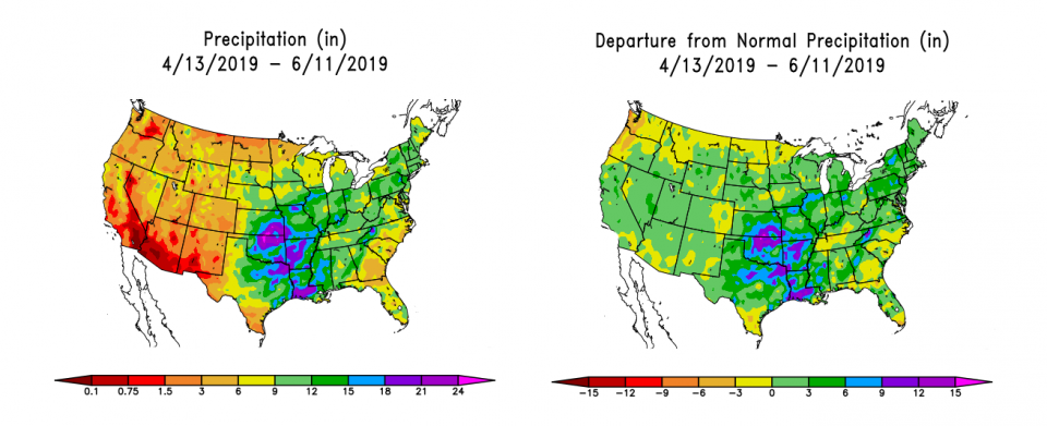 Figure 1. (L) Accumulated precipitation from April 13 through June 11. (R) Departure from normal precipitation (in inches) from April 13 to June 11, 2019. (Source: High Plains Regional Climate Center)