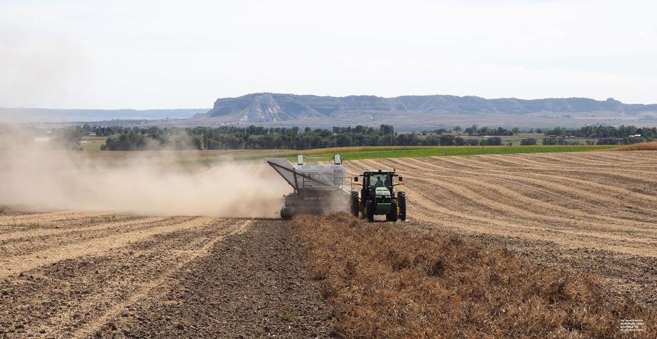 Dry bean harvest underway in a field in western Nebraska