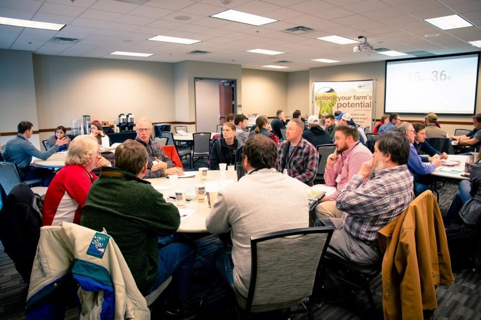 Farmers, Nebraska Extension educators, and NRCS employees at the NRCS-Nebraska Extension Soil Health Initiative Meeting held in York earlier this year. (Photo by Laura Thompson)