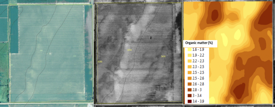 Maps of soil nutrient and organic matter zones in a field