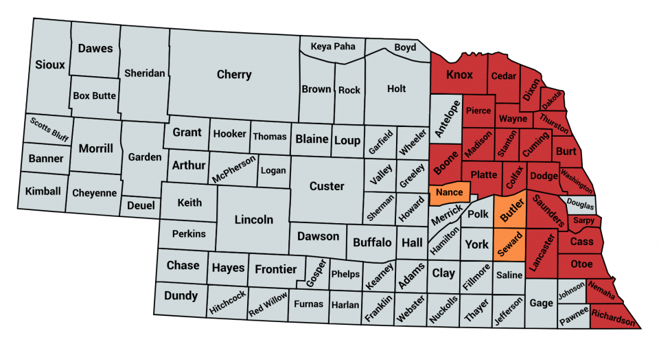 Counties documented as infested in 2018 (red) and 2019 (orange).