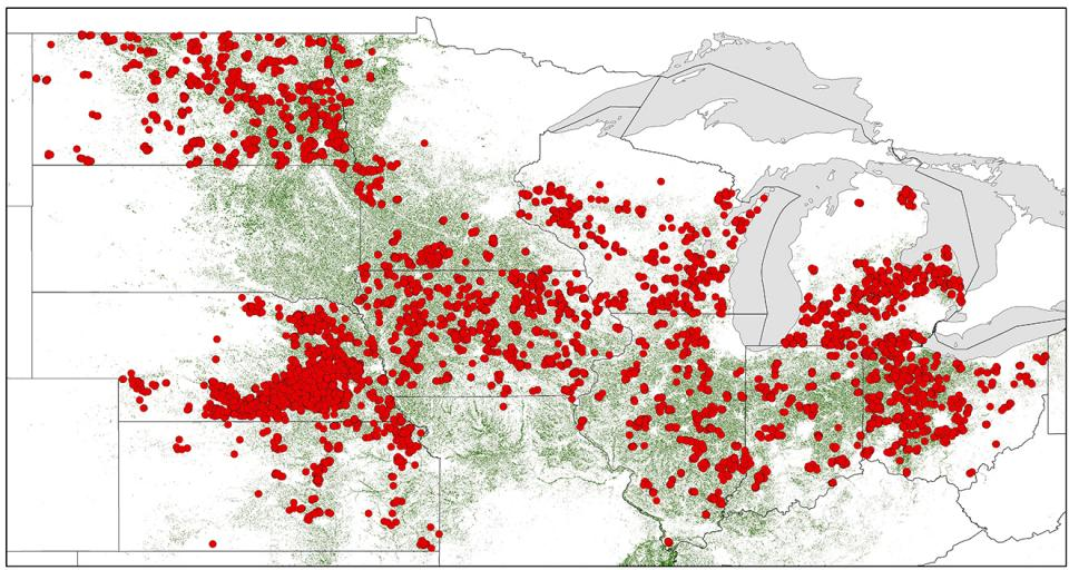 Figure 1. Distribution of survey fields across the north central US. Red circles denote individual fields and the green area shows the region of soybean acres. (Source: USDA-NASS. (2019) USDA-National Agricultural Statistics Service (NASS), National Cultivated Layer).