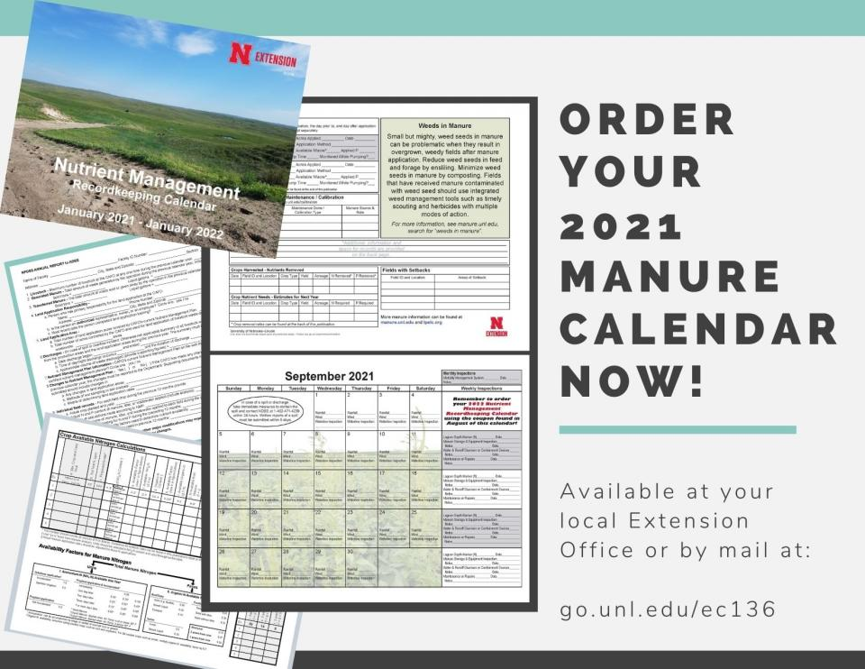 Flyer for manure calendar. Available at your local extension office.