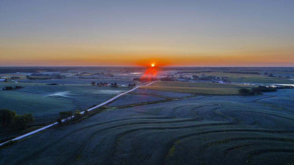 sunset of nebraska farm