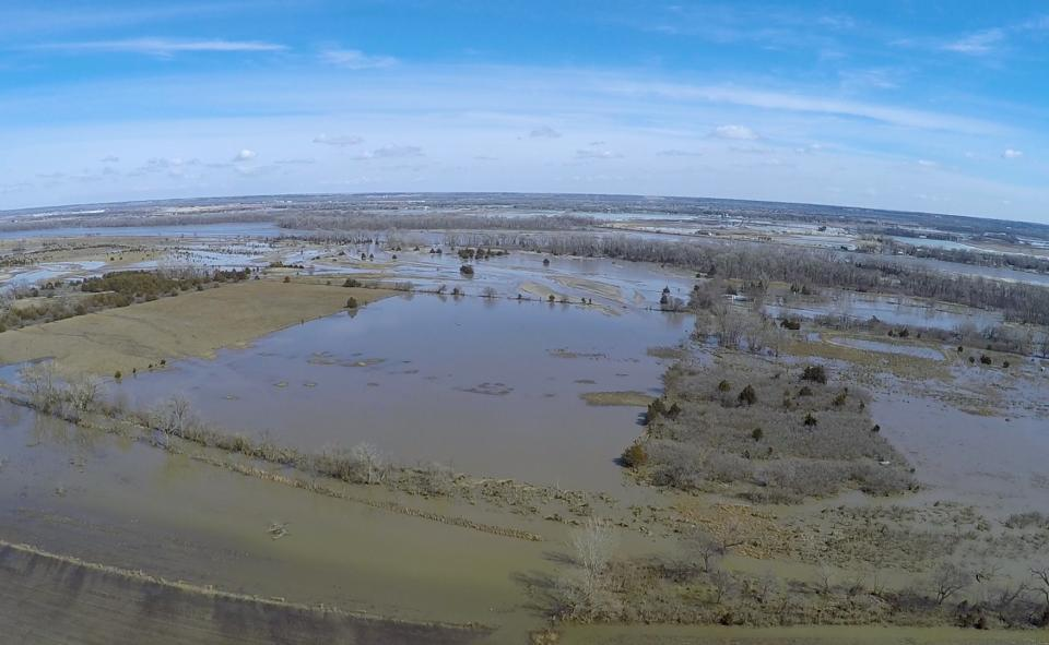 aerial view of the historic 2019 flood