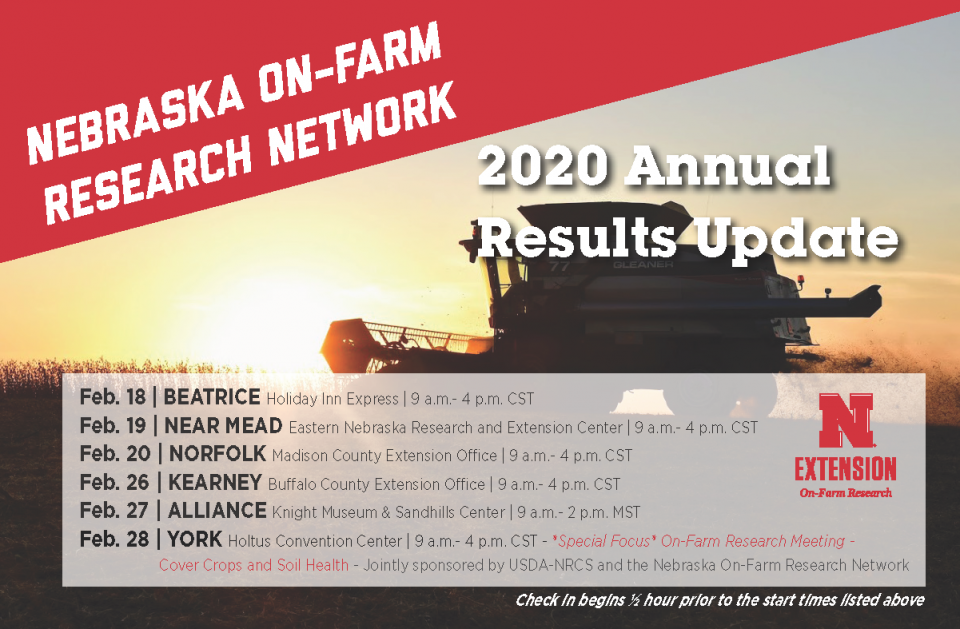 Nebraska On-Farm Research Network 2020 results update dates and location