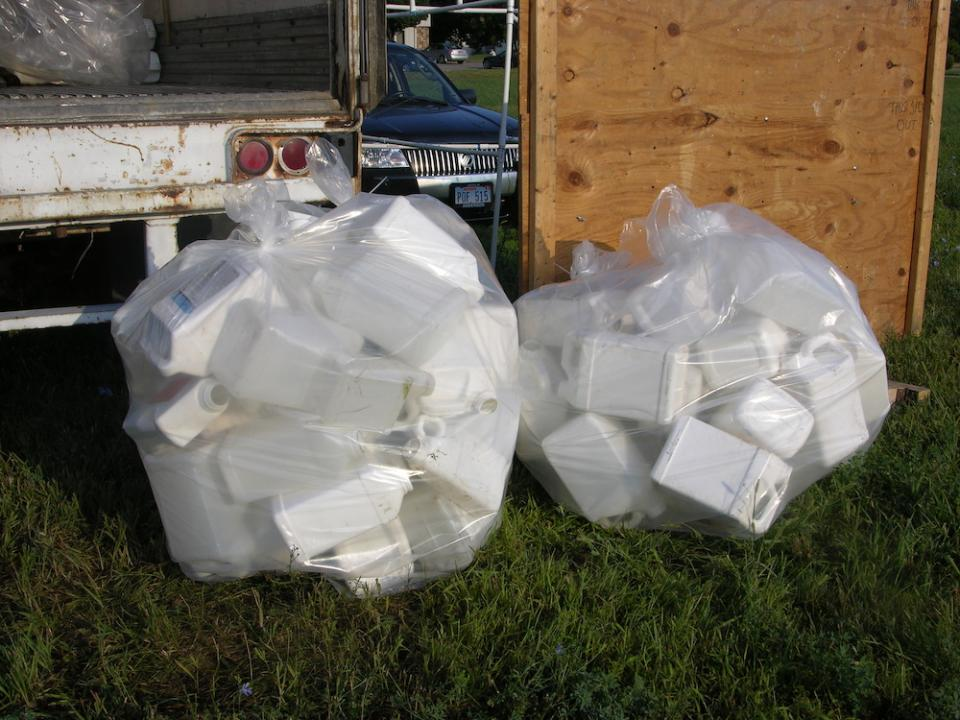 pesticide containers ready for recycling