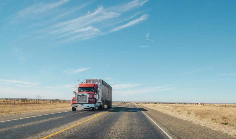 Semi trailer on highway