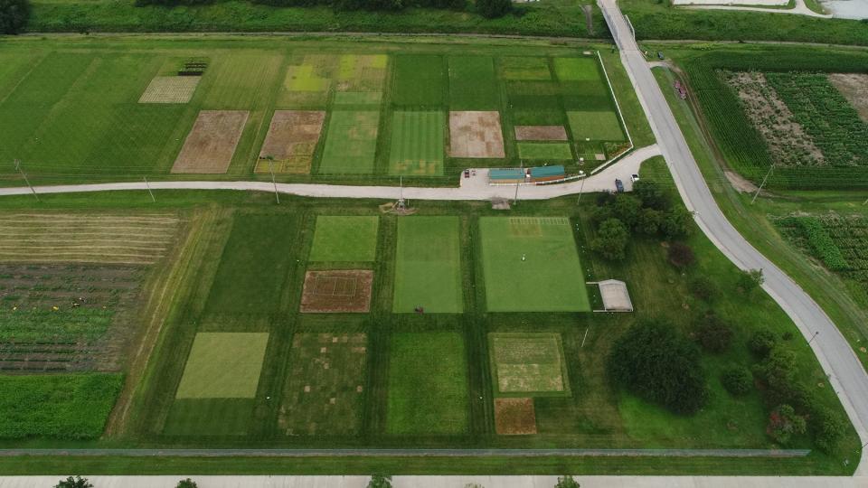 Turfgrass farm in aerial display
