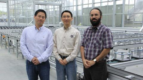 Hongfeng Yu (from left), Yufeng Ge and Harkamal Walia have received a National Science Foundation grant to develop a multi-wavelength laser ranging and imaging instrument for phenotyping plant shoots at the whole-plant level. (Hailey Steinkuhler/IANR Media)