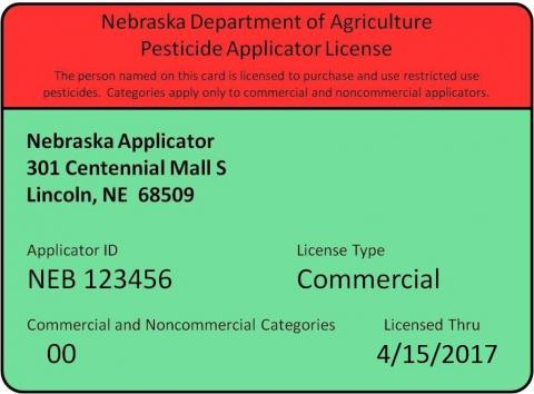 Sample commercial pesticide applicator certificate