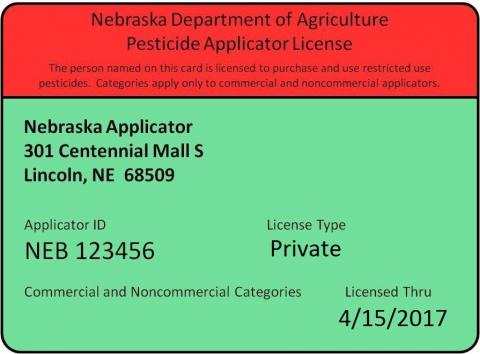 Sample private pesticide applicator certificate