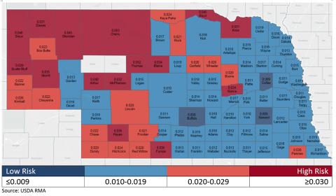 Nebraska map showing risk levels of irrigated corn production in Nebraska, based on insurance data