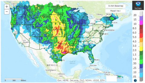 US map showing precipitation distribution for the 7 days previous to 7 a.m. April 21