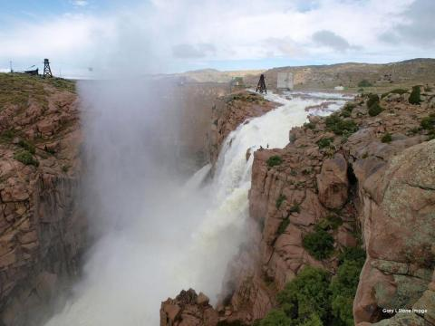 Pathfinder Reservoir Dam Overflow photo by Gary Stone
