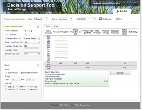 Screen capture of RMA forage insurance decision support tool
