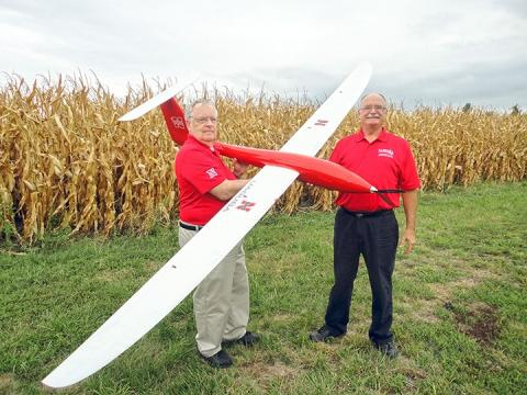 George Meyer, left, and Wayne Woldt complete a preflight check on the Tempest unmanned aircraft. Both are professors in the UNL Department of Biological Systems Engineering.