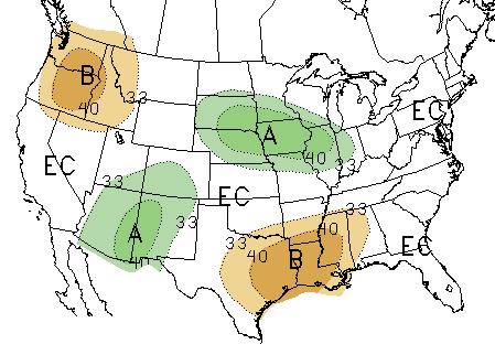 30-day precipitation forecast