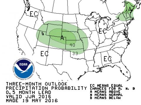 June to August CPC precipitation forecast