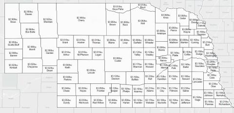 USDA winter wheat loan rate by Nebraska county.