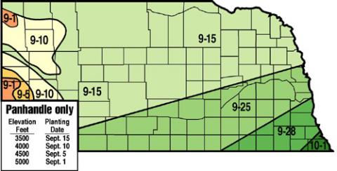 Recommended planting/seeding dates for winter wheat in Nebraska