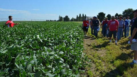 Attendees at the 2016 Soybean Management Field Day