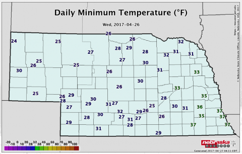 Nebraska map showing lows for April 26, 2017