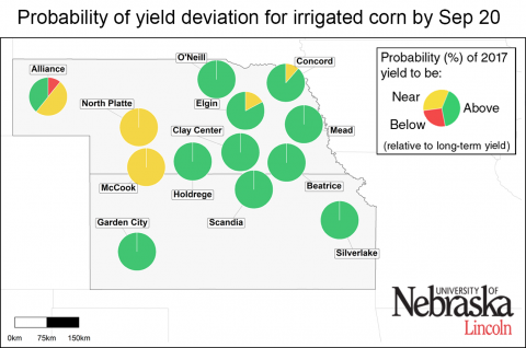 Map indicating how various Nebraska and Kansas sites are expected to vary from average yields.