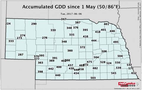 Map of accumulated GDD in Nebraska