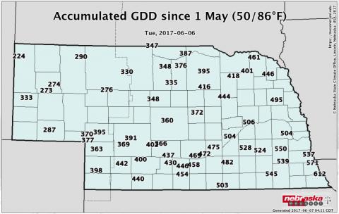 Map of accumulated GDD in Nebraska