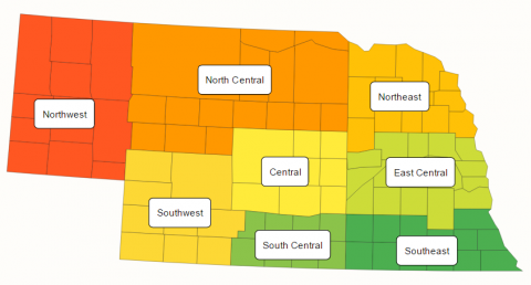 Nebraska map of PPDC reporting districts