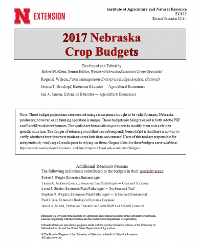 Cover of 2017 Nebraska Crop Budgets