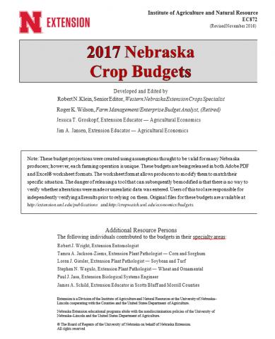 Cover of 2017 Nebraska Crop Budgets