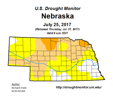 Nebraska drought monitor map for July 25, 2017
