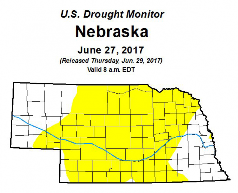 Drought monitor map for Nebraska for June 27, 2017