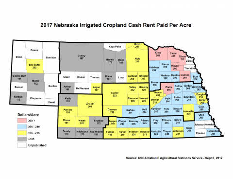 Nebraska map of irrigated cropland cash rental rates by county