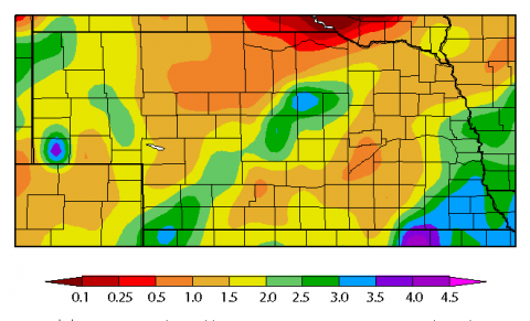 Map graphing Nebraska precipitation from March 20 to April 2