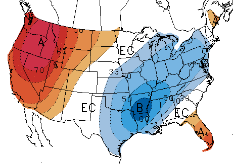 3-0-day temperature forecast from the National Weather Service Climate Prediction Center