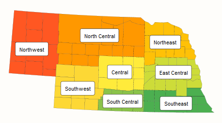 Map of Nebraska by USDA NASS districts